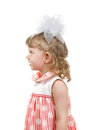Side view a little girl isolated on the white background Stock Image