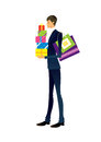 Side view of man is holding gift box Royalty Free Stock Photos