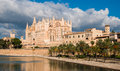 Side view palma de majorca cathedral balearic islands spain Royalty Free Stock Images