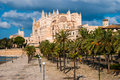 Side view palma de majorca cathedral balearic islands spain Stock Images