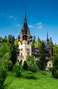 Side view of peles castle is a neo renaissance placed in an idyllic setting in the carpathian mountains in sinaia prahova county Stock Photo