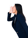 Side view portrait of a businesswoman shouting over white background Royalty Free Stock Photography