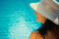 Side view portrait of a female at the poolside Royalty Free Stock Photo