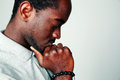 Side view portrait of a pensive african man Royalty Free Stock Photo