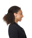 Side view portrait of a a young business woman smi Royalty Free Stock Photo