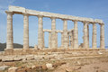Side view of the Poseidon temple Royalty Free Stock Photo