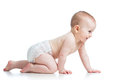 Side view pretty crawling baby Royalty Free Stock Images