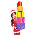 Side view of santa girl is carrying lots of gifts Royalty Free Stock Photos