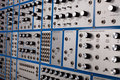 Side view of vintage analog modular synthesizer Royalty Free Stock Photos
