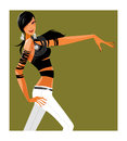 Side view of woman is dancing Stock Image