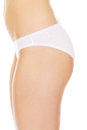 Side view of woman sexy body in white underwear Royalty Free Stock Photo