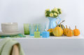 Sideboard with Thanksgiving decorations Royalty Free Stock Photo