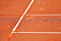 Sideline tennis clay court detail Royalty Free Stock Photo