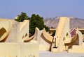 Sidereal time measuring instruments at jantar mantar observatory jaipur rajasthan india showing different also called rashivalay Royalty Free Stock Photography