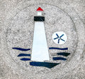 Sidewalk artwork lighthouse unique embedded in the sidewalks lincoln city oregon Royalty Free Stock Photography