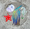 Sidewalk artwork seahorse unique embedded in the sidewalks lincoln city oregon Stock Photography