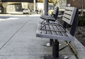 Sidewalk bench in the city - relax Royalty Free Stock Photo