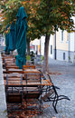 Sidewalk cafe in autumn  Stock Photo