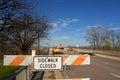Sidewalk Closed for Bridge Repairs Royalty Free Stock Photos