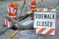 sidewalk closed sign Royalty Free Stock Photo