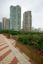 Sidewalk with high rise buildings Stock Image