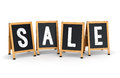 Sidewalk signs with SALE text Royalty Free Stock Photo
