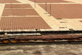 Sidewalk under construction. Drainage gutters and waterproofing layers installation Royalty Free Stock Photo