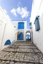 Sidi bou said small alley in tunisia Stock Photography