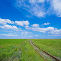 Siding ancient rail track leading to the endless nothing Stock Photos