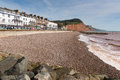 Sidmouth beach seafront and hotels devon england uk with a view along the jurassic coast september th late summer september Stock Photos