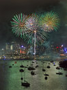 Sidney fireworks at green bunch vert australia sydney city new year midnight vertical of fire balls Stock Photo