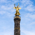 Siegessaeule in berlin with blue cloudy sky Royalty Free Stock Images
