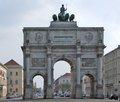 Siegestor in munich nearly frontal shot showing a monument named bavaria germany Stock Photos