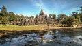 Siem Reap, Cambodia, December 06, 2015: The many face temple of Bayon at the Angkor Wat site in Cambodia Royalty Free Stock Photo