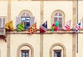 Siena city flags in Italy Royalty Free Stock Photo