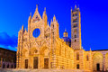 Siena italy the cathedral of duomo di at twilight Royalty Free Stock Image