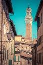 Mangia Tower, Italian Torre del Mangia in Siena, Italy - Tuscany region