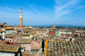 Siena roofs tuscany italy aerial view on mangia tower and Stock Photo