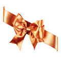 Sienna bow made from silk ribbon isolated Stock Photography