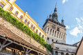 Sighisoara clock tower in the morning Stock Photo