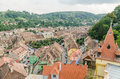 Sighisoara medieval fortress aerial view romania august on august in romania founded in today is the most Royalty Free Stock Images