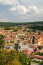 Sighisoara medieval fortress aerial view romania august on august in romania founded in today is the most Stock Image