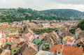 Sighisoara medieval fortress aerial view romania august on august in romania founded in today is the most Royalty Free Stock Photo