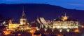 Sighisoara at night panorama with historic center in transylvania romania Royalty Free Stock Photo