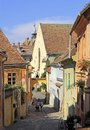 Stone paved old street with colorful houses in Sighisoara fortress Royalty Free Stock Photo