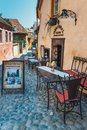 Walking around the historic town Sighisoara. City in which was born Vlad Tepes, Dracula Royalty Free Stock Photo