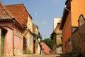 Sighisoara street little ground in transylvania romania Royalty Free Stock Image
