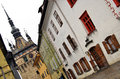 Sighisoara street view of and old town with the old citadel Stock Photo