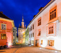 Sighisoara in transylvania at night clock tower and historic city center romania Stock Images