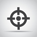 Sight icon with shadow on a gray background. Vector illustration